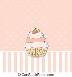fondo rosa, cupcake.