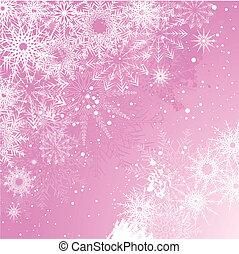 fondo, rosa, fiocco di neve