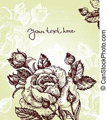 fondo, rose, floreale
