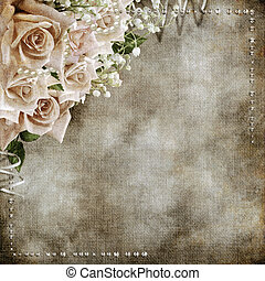 fondo, rose, matrimonio, romantico, vendemmia