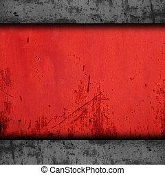 fondo, rosso, metallo, struttura, ferro, grunge, parete, vecchio, arrugginito, ruggine, modello, industriale, superficie
