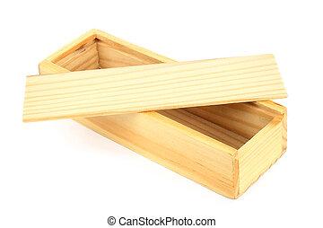 fondo, scatola legno, aperto, bianco