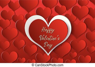 fondo, scheda valentine, sagoma, cuori, rosso