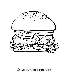 fondo., schizzo, bianco, hamburger, isolato