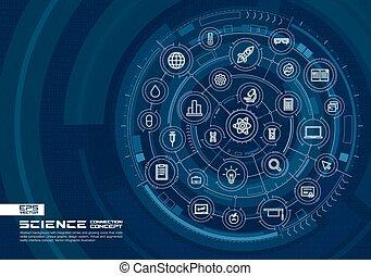 fondo., scienza, astratto, sistema, icons., cerchi, ardendo, collegare, digitale, linea, tecnologia, integrato, magro