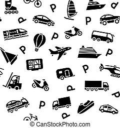 fondo, seamless, trasporto, icone