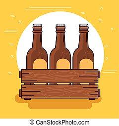 fondo, set, legno, scatola gialla, birre