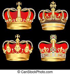 fondo, set, nero, corone, oro