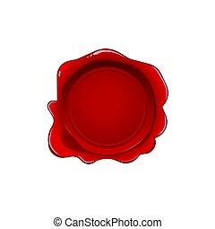 fondo., sigillo, isolato, stamp., realistico, vettore, etichetta, lettera, cera, bianco, documento, rosso
