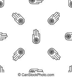 fondo., signo., vector, o, gris, patrón, ilustración, ahimsa...