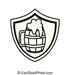 fondo, silhouette, birra, legno, tazza, bianco, scudo