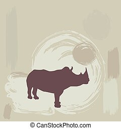 fondo., silhouette, vettore, grunge, rinoceronte
