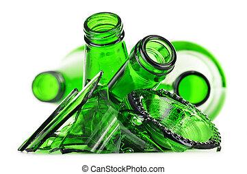 fondo., sopra, riciclaggio, pezzi, vetro, rotto, bianco