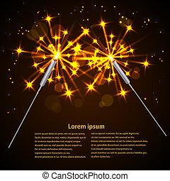 fondo., sparklers, vettore, nero, illustration.