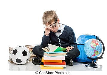 fondo, stanco, libro, studio, studente, proposta, bianco