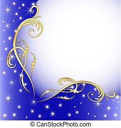 fondo, stelle, ornamento, (en), oro
