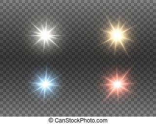 fondo., stelle, sfavillante, effetti, luminoso, lucente, colorito, vettore, beams., natale, ardendo, set, bagliore, rays., collection., trasparente, colorare, astratto, flares., luci, illustrazione