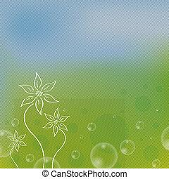 fondo, striscia verde, primavera, bello