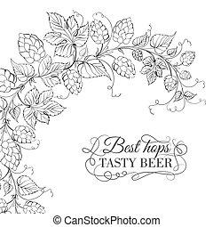 fondo., tazza, birra, isolato, bianco