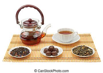 fondo, tazza, isolato, tè, bianco, teiera