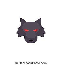 fondo, testa, lupo, bianco, arrabbiato