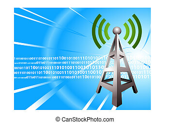 fondo, torre, radio digitale, onda, moderno