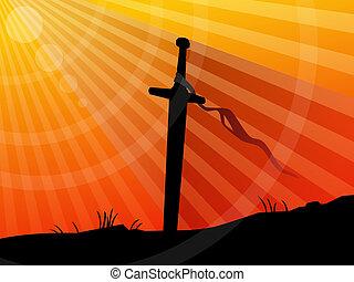 fondo, tramonto, spada