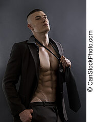 fondo., uomo, giovane, sexy, atletico, nero, proposta, corpo