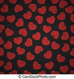 fondo, valentine, dipinto, modello, seamless, day., fondo., nero, scrawl., vector., cuori, tuo, design.