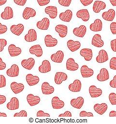 fondo, valentine, dipinto, modello, seamless, day., fondo., scrawl., vector., cuori, bianco, tuo, design.