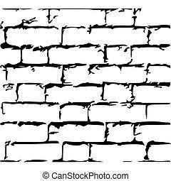 fondo., vector, aislado, pared blanca, texture., antiguo, grunge, ladrillo, ilustración, acción