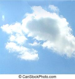 fondo., vector, cielo, nublado