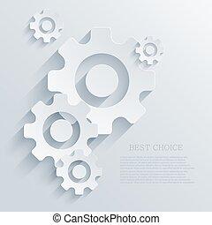fondo., vector, creativo, mecanismo, icono