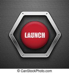 fondo., vector, eps10, button., lanzamiento