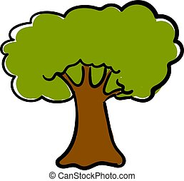 fondo., vector, grande, roble, blanco, ilustración, árbol