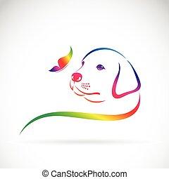 fondo., vector, mariposa, logotipo, perro blanco
