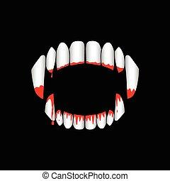fondo., vector, sangriento, dientes, vampiro, negro