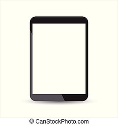 fondo., vector, tableta, icon., blanco, computadora, plano, ...