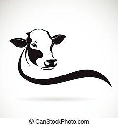 fondo., vector, vaca, diseño, blanco, animal., granja, cabeza