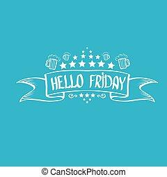 fondo., vector, viernes, feliz