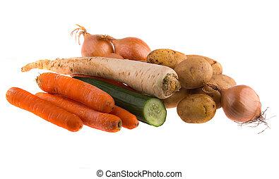 fondo., vegetales, blanco, aislado