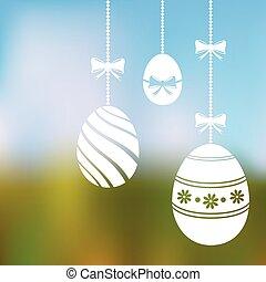 fondo velado, con, ahorcadura, huevos de pascua