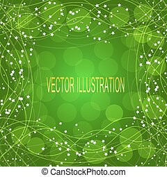fondo verde, con, border., vector, illustration.