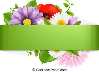 fondo verde, con, color, flores