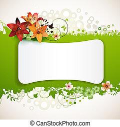fondo verde, con, flores