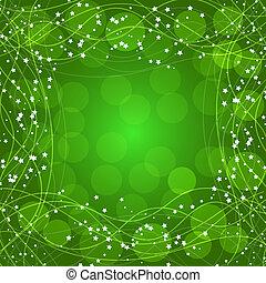 fondo verde, con, frontera, líneas, y, stars., illustration.