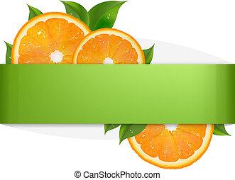 fondo verde, con, naranja