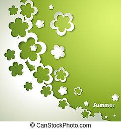 fondo verde, con, papel, flores
