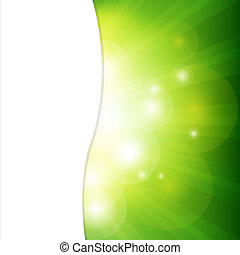 fondo verde, con, sunburst
