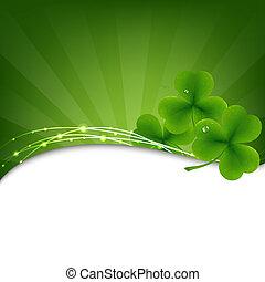 fondo verde, con, trébol
